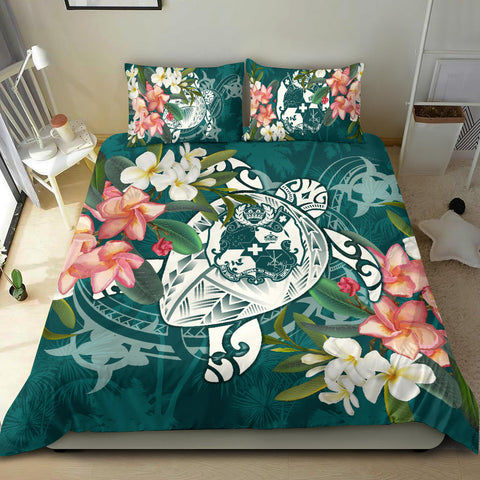 Tonga Polynesian Duvet Cover Set - Turtle with Plumeria