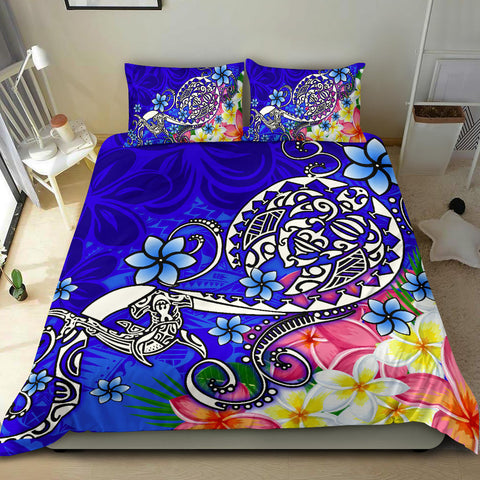 Polynesian Bedding Set - Turtle Plumeria Blue Color