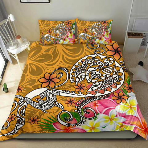 Polynesian Bedding Set - Turtle Plumeria Gold Color