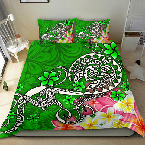 Polynesian Bedding Set - Turtle Plumeria Green Color