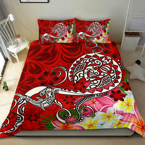Polynesian Bedding Set - Turtle Plumeria Red Color
