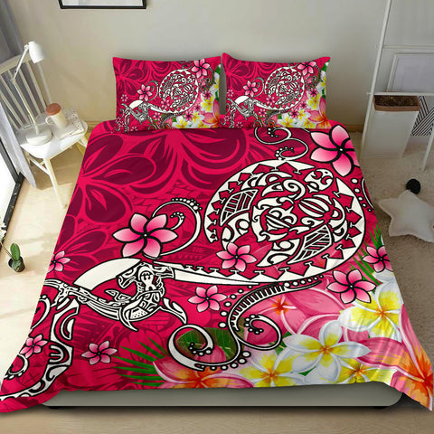 Polynesian Bedding Set - Turtle Plumeria Pink Color