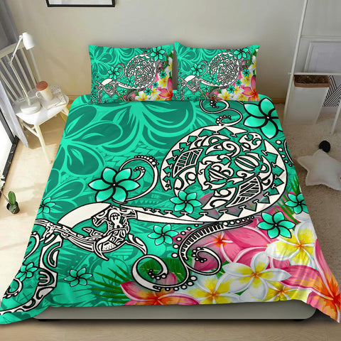 Polynesian Bedding Set - Turtle Plumeria Turquoise Color