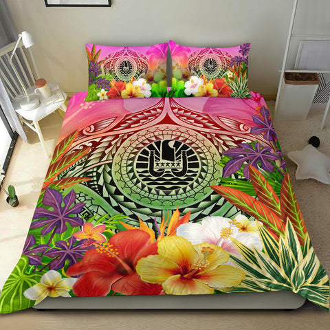 Image of Tahiti Polynesian Bedding Set - Manta Ray Tropical Flowers