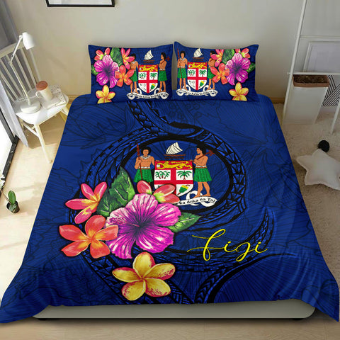 Polynesian Bedding Set - Fiji Duvet Cover Set Floral With Seal Blue - BN12