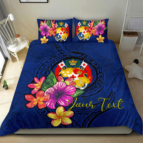 Polynesian Custom Personalised Bedding Set - Tonga Duvet Cover Set Floral With Seal Blue - BN12
