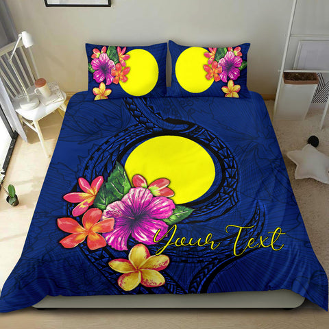Polynesian Custom Personalised Bedding Set - Palau Duvet Cover Set Floral With Seal Blue - BN12
