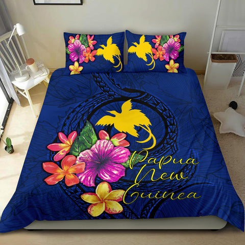 Polynesian Bedding Set - Papua New Guinea Duvet Cover Set Floral With Seal Blue - BN12