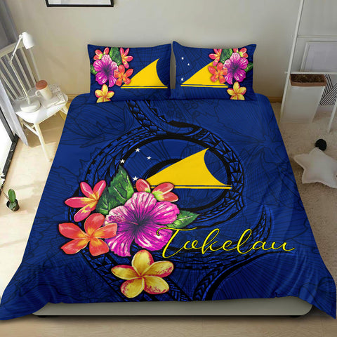 Polynesian Bedding Set - Tokelau Duvet Cover Set Floral With Seal Blue - BN12