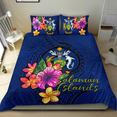 Polynesian Bedding Set - Solomon Islands Duvet Cover Set Floral With Seal Blue - BN12