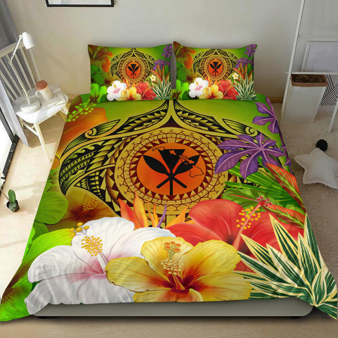 Hawaii Polynesian Bedding Set - Kanaka Maoli Manta Ray Tropical Flowers (Reggae)