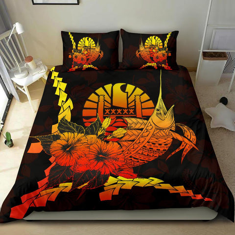 Tahiti Polynesian Bedding Set - Swordfish With Hibiscus - BN12