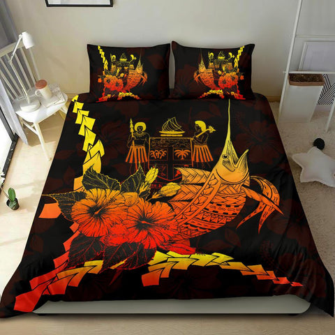 Image of Fiji Polynesian Bedding Set - Swordfish With Hibiscus