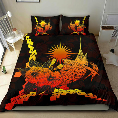 Marshall Islands Polynesian Bedding Set - Swordfish With Hibiscus - BN12