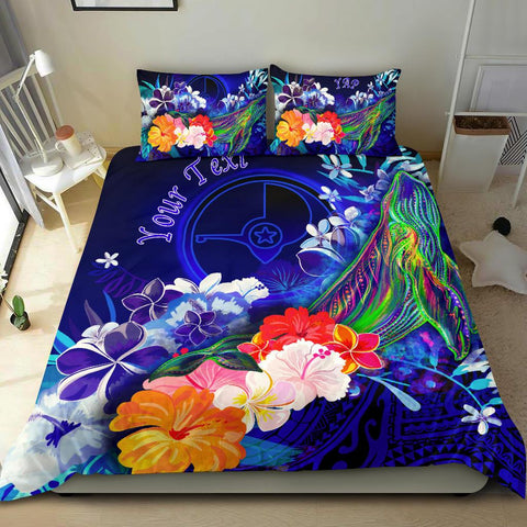 [Custom] Yap Bedding Set - Humpback Whale with Tropical Flowers (Blue)