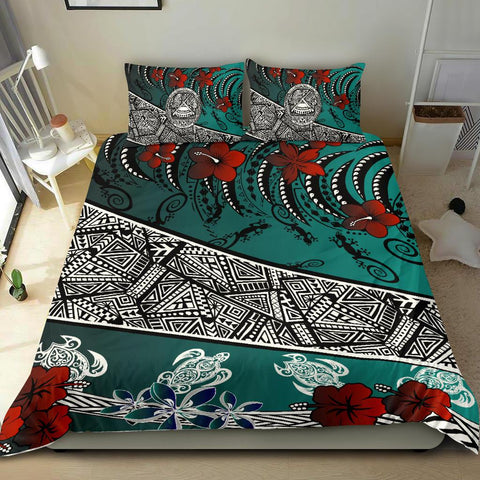 American Samoa Bedding Set - Lizard And Turtle Green - BN20