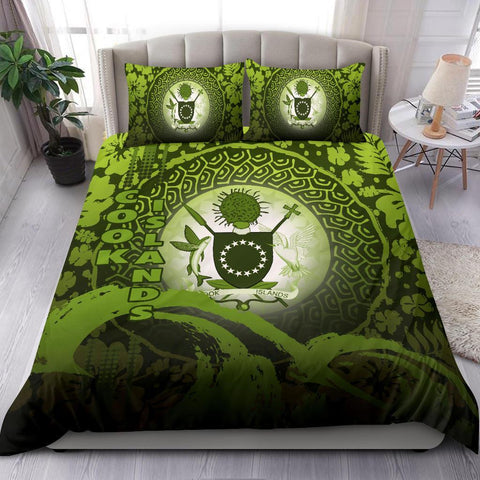 Cook Islands Bedding Set - Wave and Hibiscus Green K62
