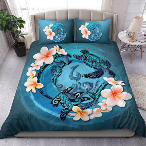 Image of Polynesia Bedding Set - Blue Plumeria Animal Tattoo A24