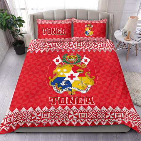 Tonga Coat Of Arms Bedding Set - Red Version - BN12