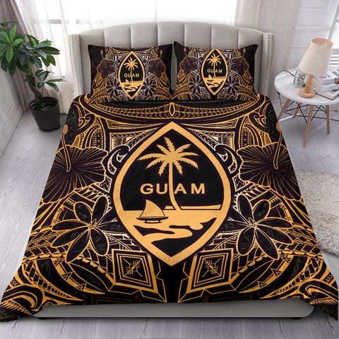 Guam Polynesian Bedding Set - Gold Hibiscus Coat Of Arms