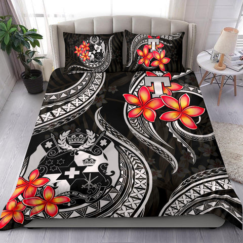 Polynesian Bedding Set - Tonga Duvet Cover Set - White Plumeria