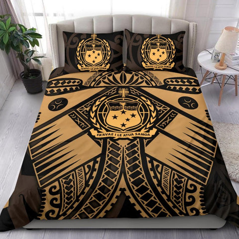 Samoa Polynesian Bedding Set - Samoa Gold Seal with Polynesian Tattoo
