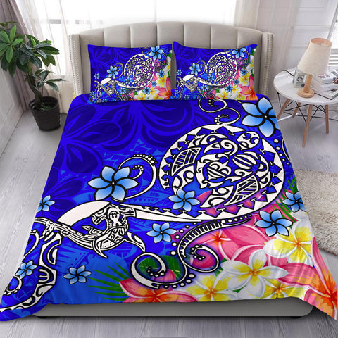 Polynesian Bedding Set - Turtle Plumeria Blue Color - BN18