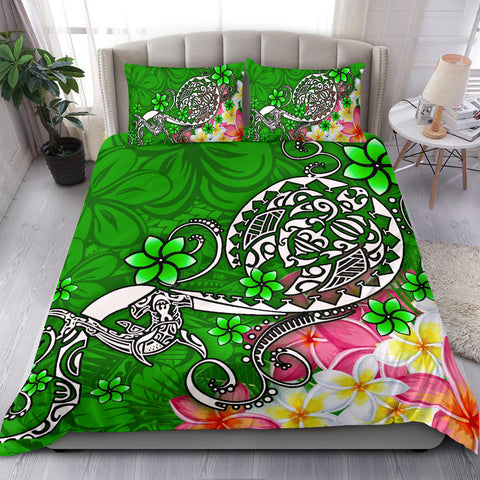 Polynesian Bedding Set - Turtle Plumeria Green Color - BN18
