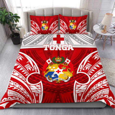 Polynesian Bedding Set - Tonga Duvet Cover Set - Pattern With Seal Red Version