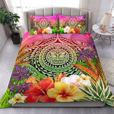 Image of Polynesian Bedding Set - Manta Ray Tropical Flowers