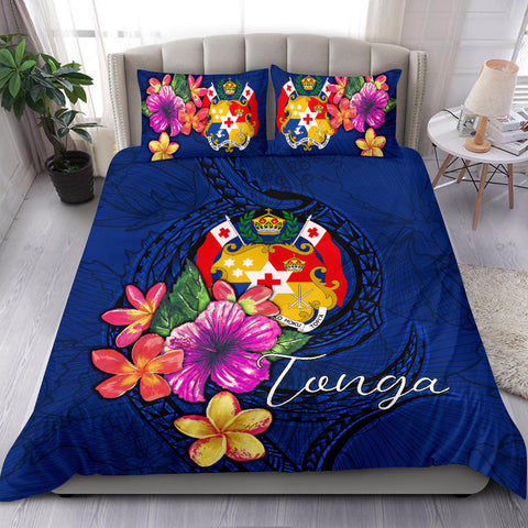 Polynesian Bedding Set - Tonga Duvet Cover Set Floral With Seal Blue