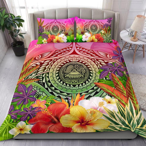 American Polynesian Bedding Set - Manta Ray Tropical Flowers