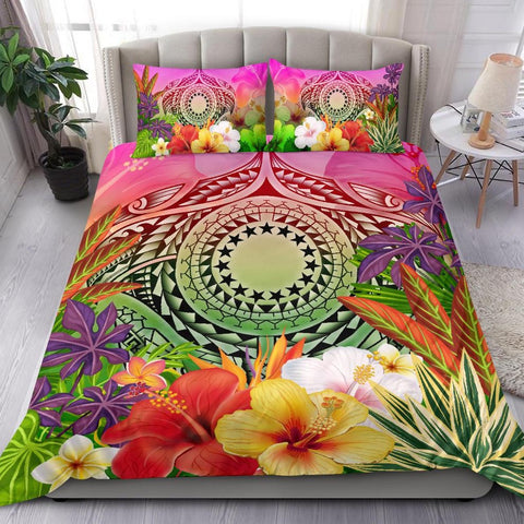 Cook Islands Polynesian Bedding Set - Manta Ray Tropical Flowers