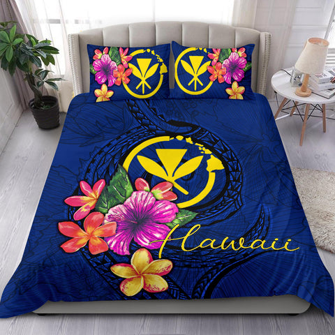 Polynesian Bedding Set - Hawaii Duvet Cover Set Floral With Seal Blue