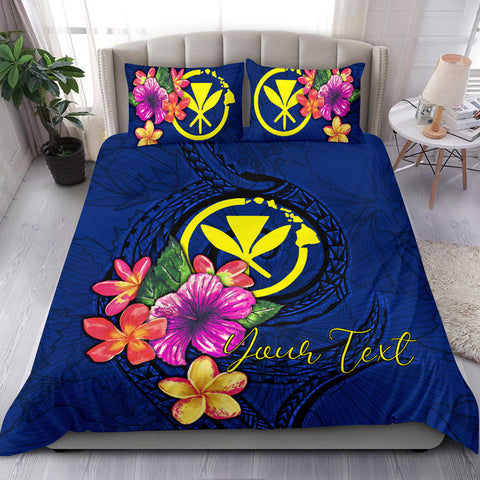 Polynesian Custom Personalised Bedding Set - Hawaii Duvet Cover Set Floral With Seal Blue