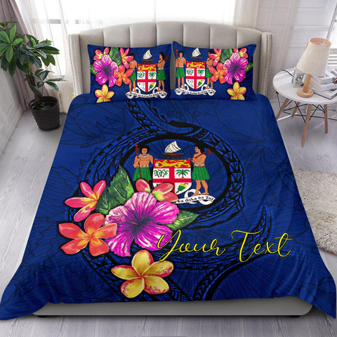 Image of Polynesian Custom Personalised Bedding Set - Fiji Duvet Cover Set Floral With Seal Blue