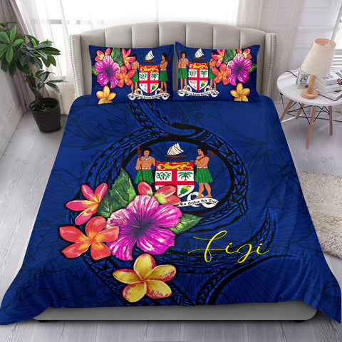 Polynesian Bedding Set - Fiji Duvet Cover Set Floral With Seal Blue