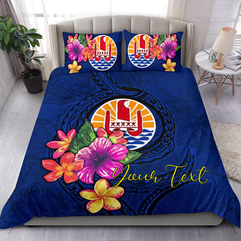 Polynesian Custom Personalised Bedding Set - Tahiti Duvet Cover Set Floral With Seal Blue