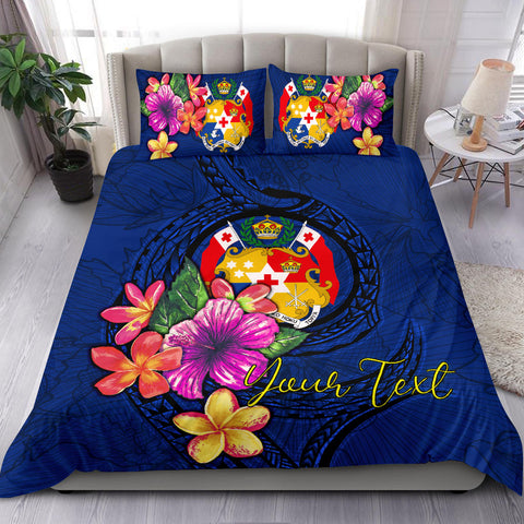 Polynesian Custom Personalised Bedding Set - Tonga Duvet Cover Set Floral With Seal Blue