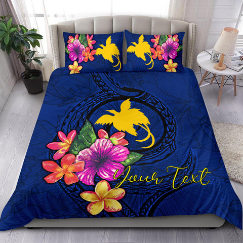 Polynesian Custom Personalised Bedding Set - Papua New Guinea Duvet Cover Set Floral With Seal Blue