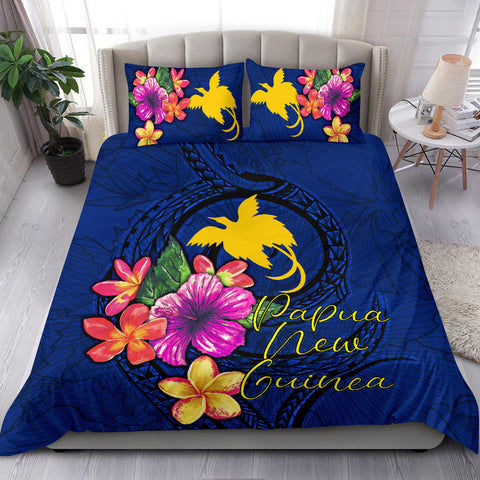 Polynesian Bedding Set - Papua New Guinea Duvet Cover Set Floral With Seal Blue