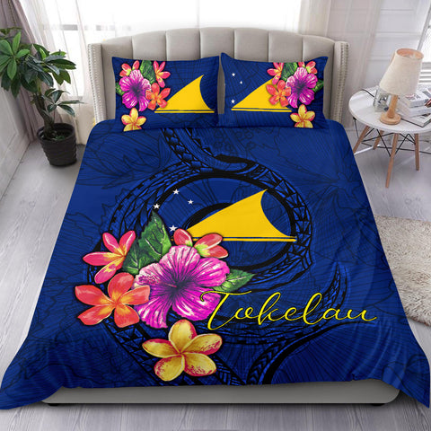 Polynesian Bedding Set - Tokelau Duvet Cover Set Floral With Seal Blue