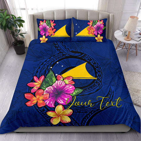 Polynesian Custom Personalised Bedding Set - Tokelau Duvet Cover Set Floral With Seal Blue