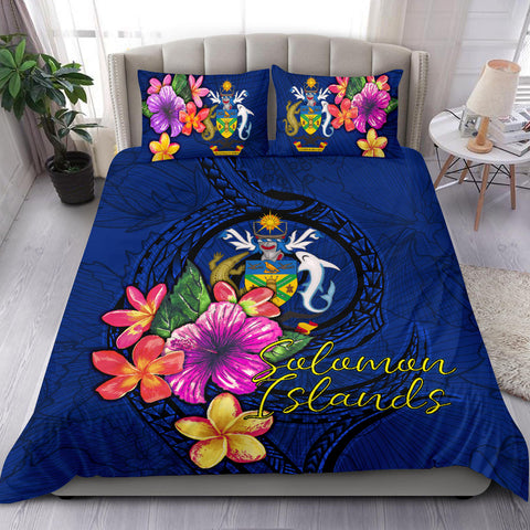 Polynesian Bedding Set - Solomon Islands Duvet Cover Set Floral With Seal Blue