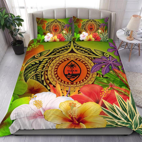Image of Guam Polynesian Bedding Set - Manta Ray Tropical Flowers (Reggae)