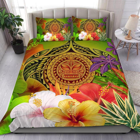 Image of Polynesian Bedding Set - Manta Ray Tropical Flowers (Reggae)