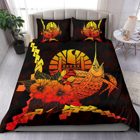 Image of Tahiti Polynesian Bedding Set - Swordfish With Hibiscus