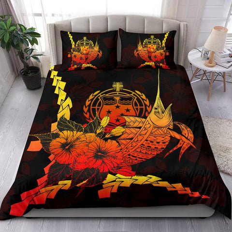 Samoa Polynesian Bedding Set - Swordfish With Hibiscus