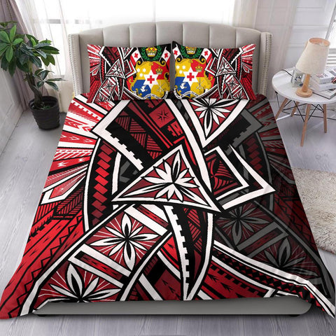 Image of Tonga Polynesian Bedding Set - Tribal Flower Special Pattern Red Color - BN20