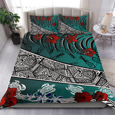 Image of Polynesian Bedding Set - Lizard And Turtle Green - BN20